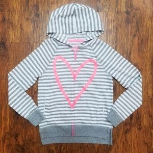 SO Girls' Perfect Zip-up Hoodie Gray Pink Heart